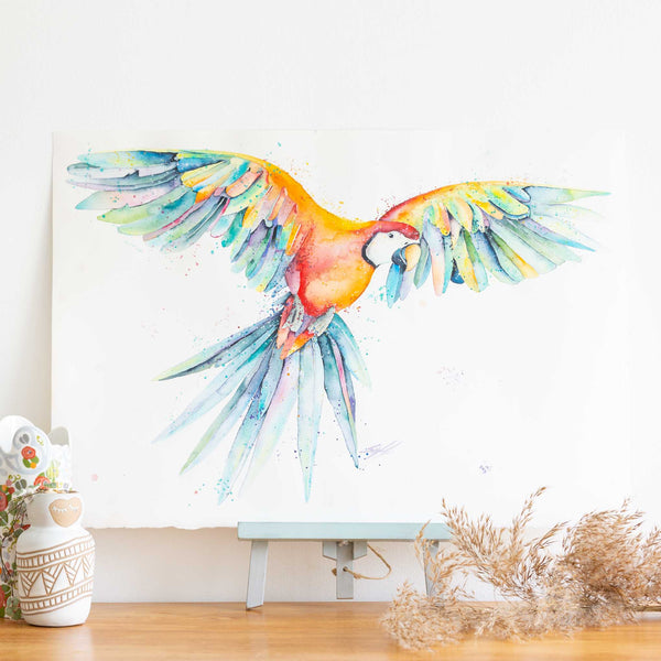 watercolour animals artwork Soaring Macaw