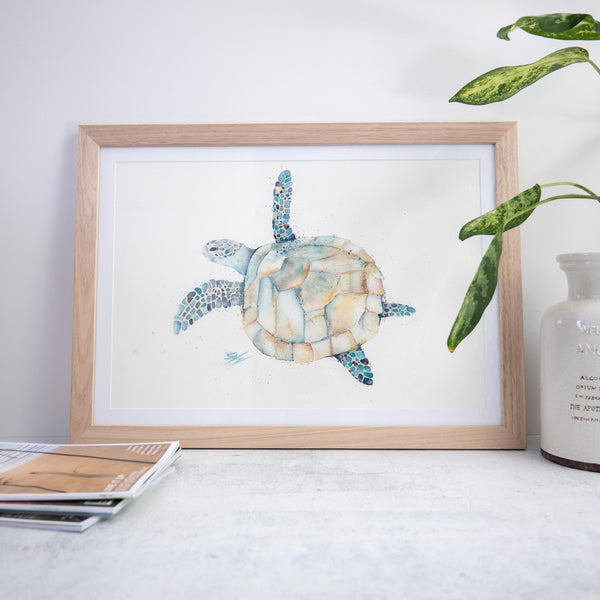 Hawksbill Turtle Watercolour framed artwork