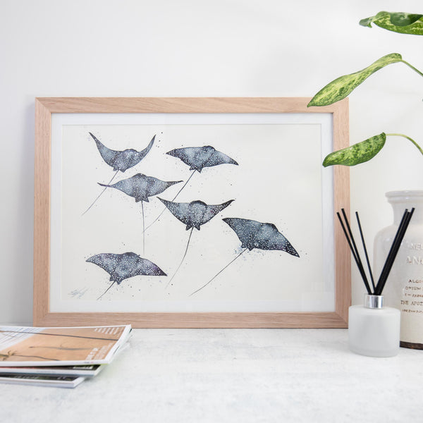 Framed eagle rays original artwork