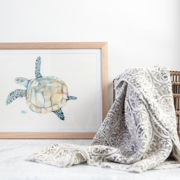 Watercolour turtle artwork framed