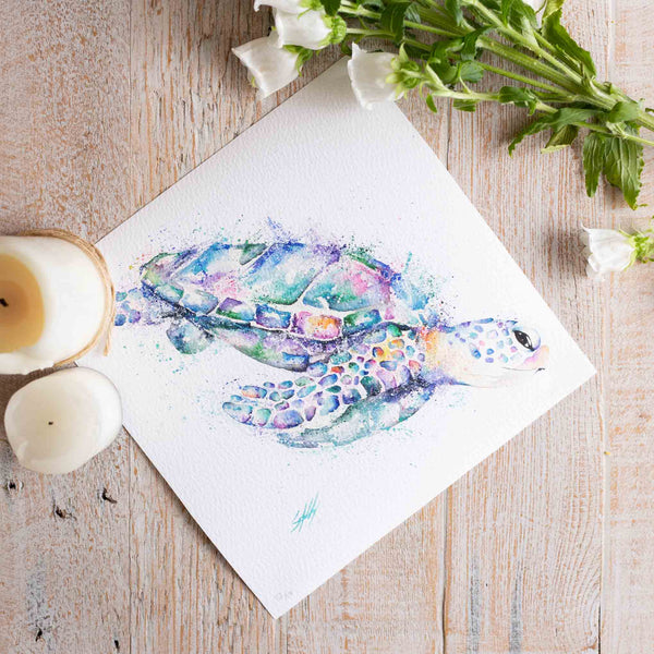 Turtle watercolour animals artwork underwater art by Australian artist Stephanie Elizabeth Artwork.