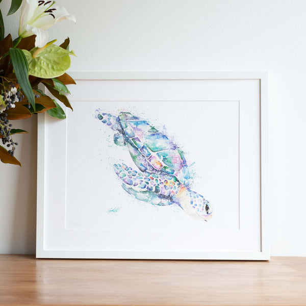 Watercolour animals artwork diving deep turtle