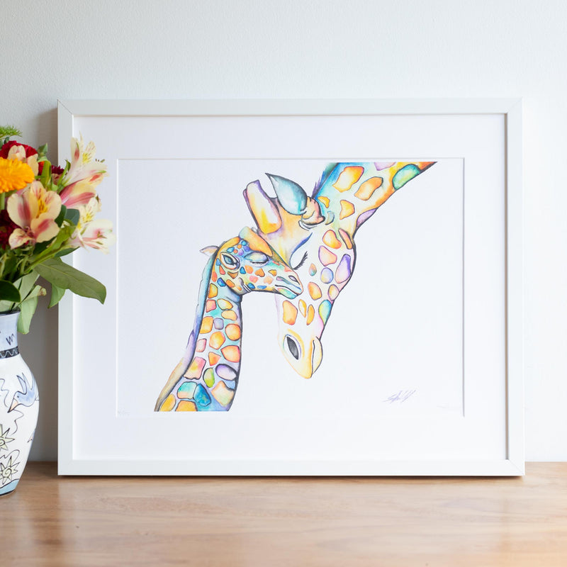 Mom and baby giraffe watercolour print