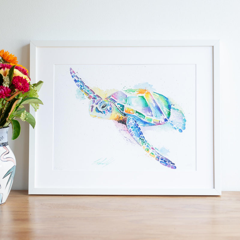 Watercolour turtle artwork rainbow ripple