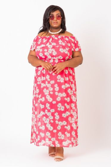 OFF-THE-SHOULDER FLORAL MAXI DRESS