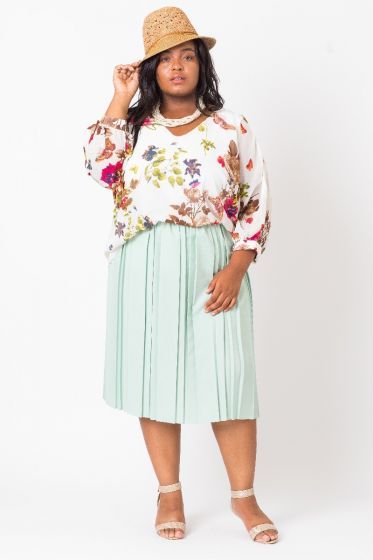 V-Neck Floral Chiffon Top