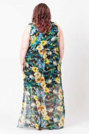 Multicolored Wrap Front Maxi Dress