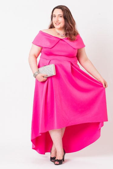 HOT PINK BARDOT PROM DRESS