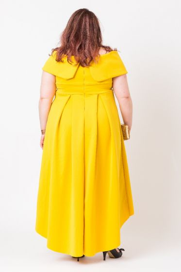 BARDOT PROM DRESS- MUSTARD