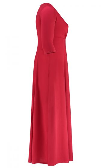 WRAP FRONT JERSEY MAXI DRESS (RED)