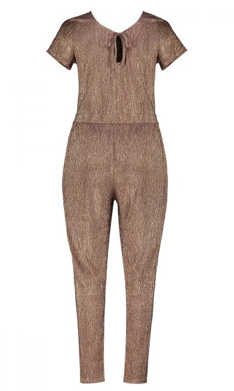 METALLIC CRINKLE JUMPSUIT (BRONZE)