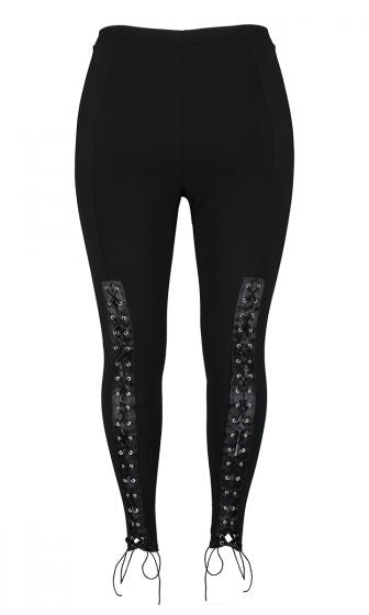 Black Jersey Lace Up Leggings