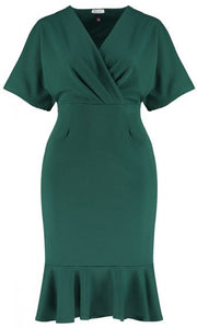 WRAP FRONT FISHTAIL DRESS (GREEN)