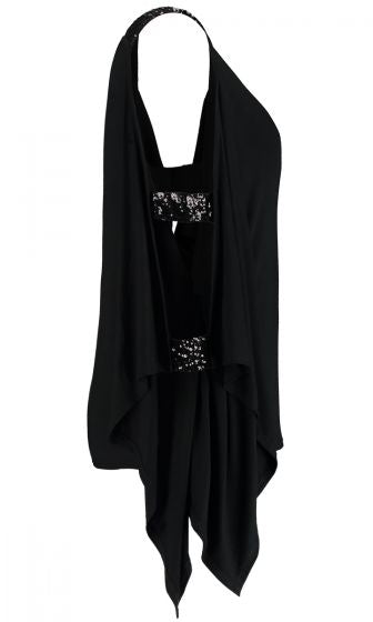 SEQUIN ARM PONCHO TOP