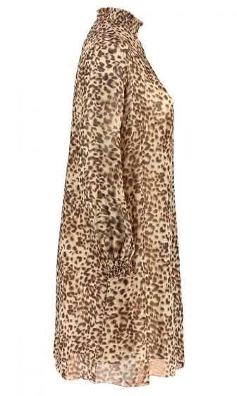 SHEARED NECK DRESS (ANIMAL PRINT)