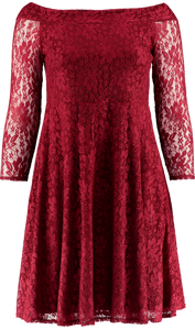 OFF-THE-SHOULDER LACE DRESS (WINE)