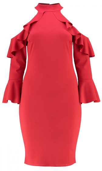 COLD SHOULDER MIDI RUFFLE DRESS (RED)