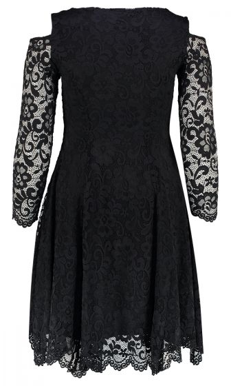 FIT & FLARE LACE DRESS (BLACK)