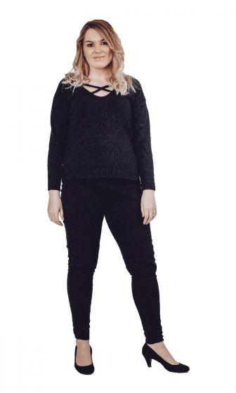 Black Cross Over Jumper