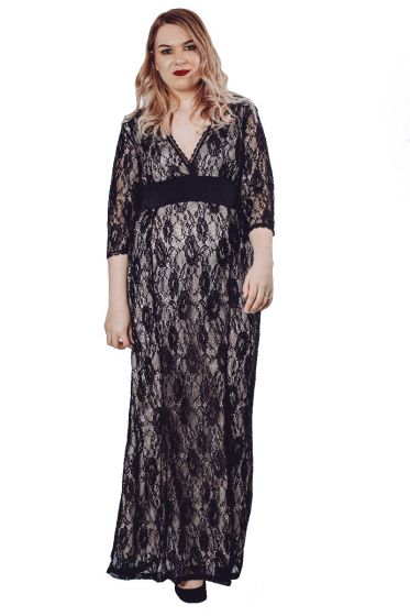 Flower Print Lace Maxi Dress