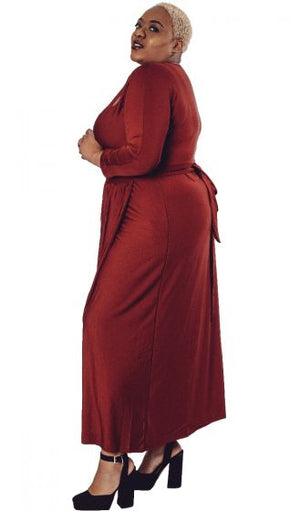 Red Wrap-Over Maxi Dress