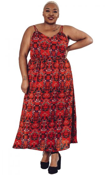Red Printed Maxi Dress