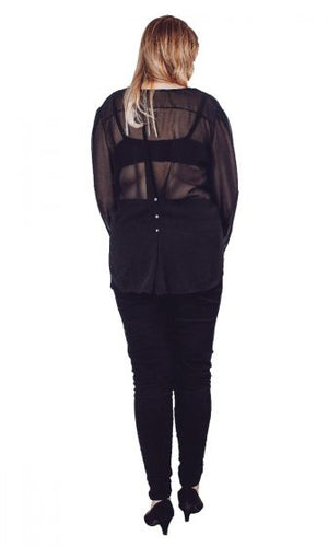 Fitted Black Sheer Blouse