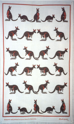KANGAROO BROWN LINEN TEA TOWEL