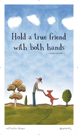 RED TRACTOR TRUE FRIENDS LINEN TEA TOWEL
