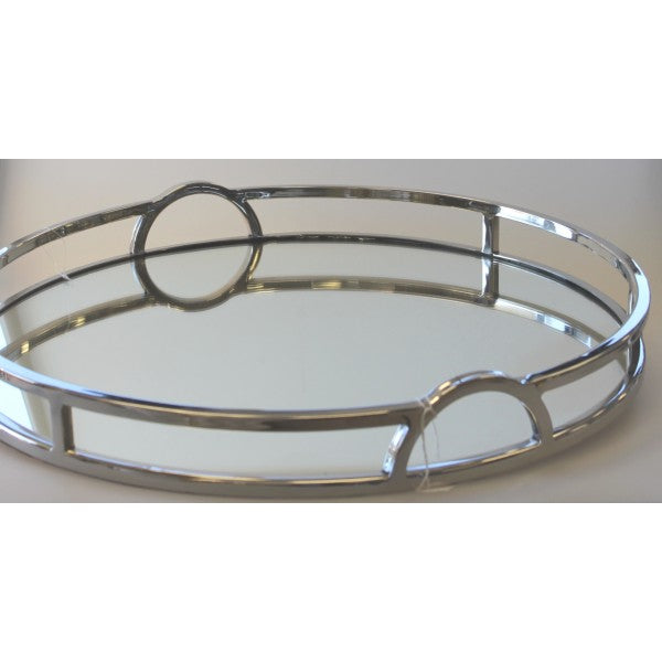 Large Round Mirror Tray Arch Handles 49cm
