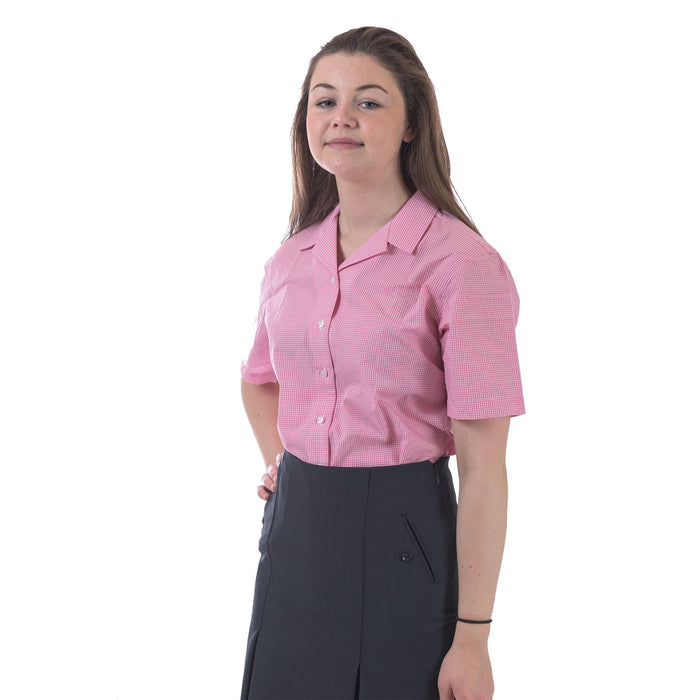St Peter's Girls Checked Rever Blouse - (Short Sleeve)
