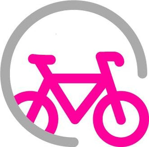 Bike Club logo icon: pink bicycle surrounded by a grey three-quarter circle
