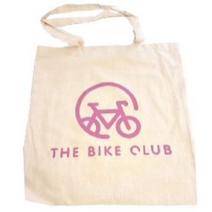 Tote bag with pink Bike Club branding