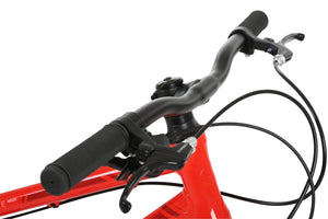 Handlebars of red child's bicycle