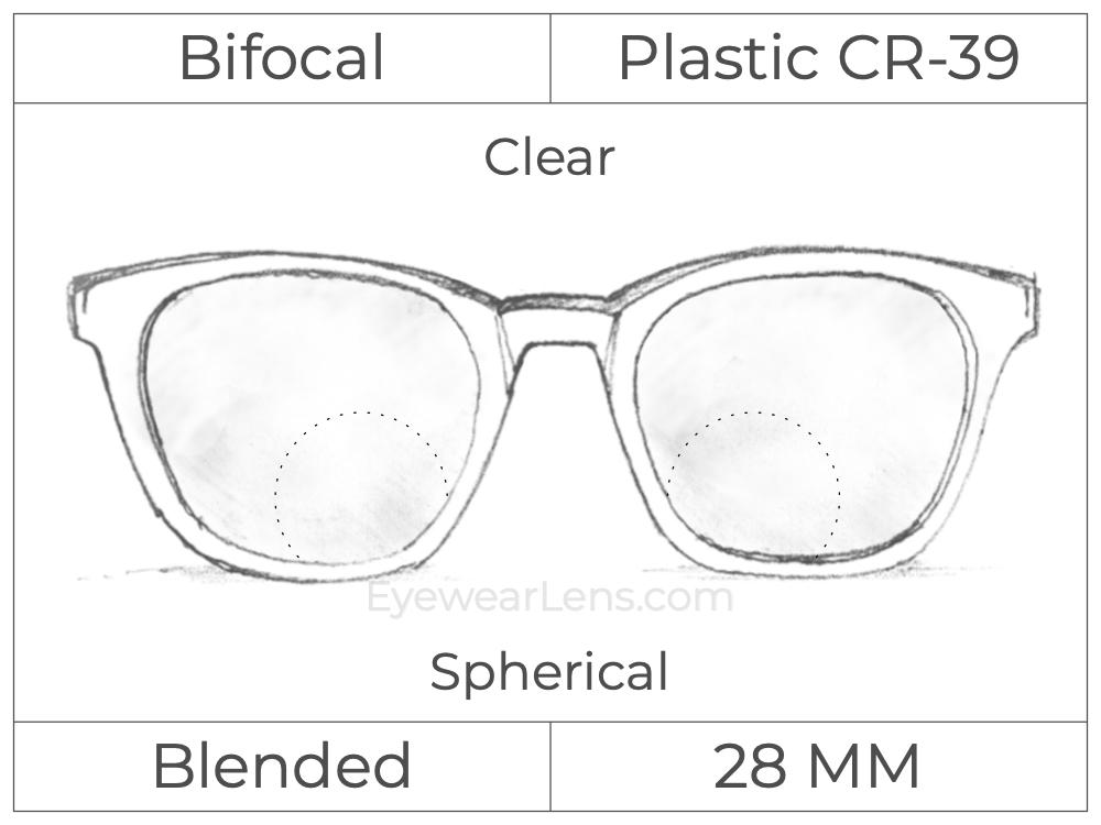 Bifocal - Blended 28 - Plastic - Spherical - Clear