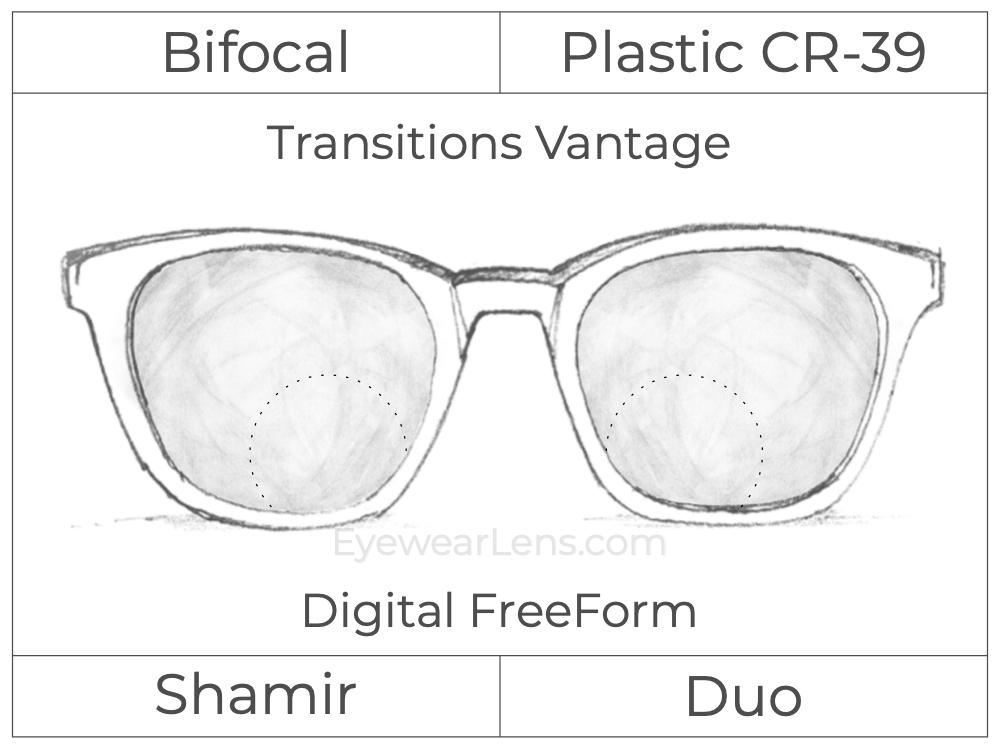 Bifocal - Shamir Duo - Plastic - Digital FreeForm - Transitions Vantage