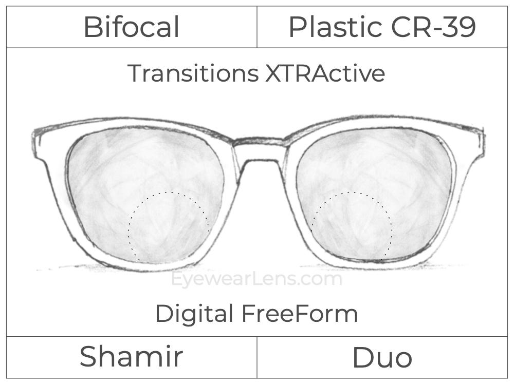Bifocal - Shamir Duo - Plastic - Digital FreeForm - Transitions XTRActive