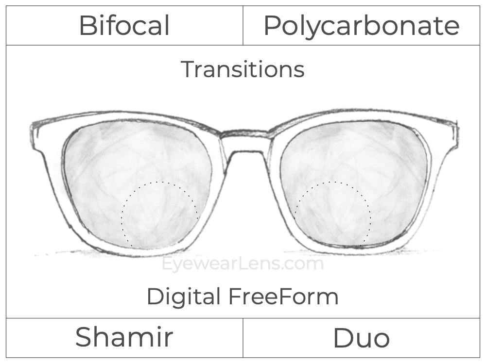 Bifocal - Shamir Duo - Polycarbonate - Digital FreeForm - Transitions Signature