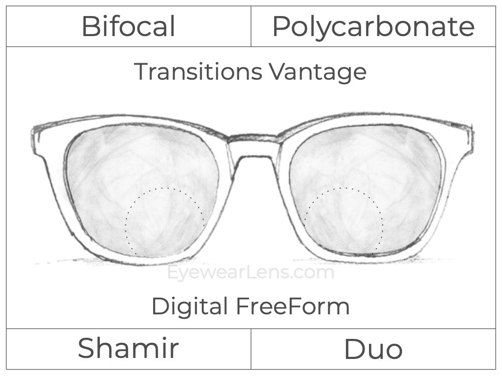 Bifocal - Shamir Duo - Polycarbonate - Digital FreeForm - Transitions Vantage