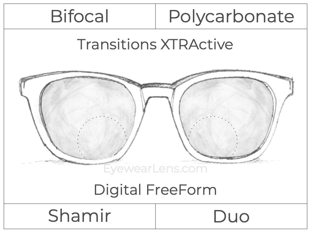 Bifocal - Shamir Duo - Polycarbonate - Digital FreeForm - Transitions XTRActive