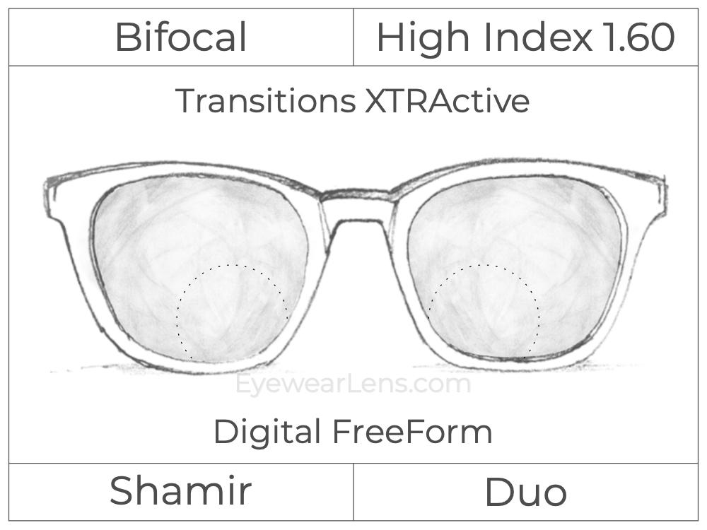 Bifocal - Shamir Duo - High Index 1.60 - Digital FreeForm - Transitions XTRActive
