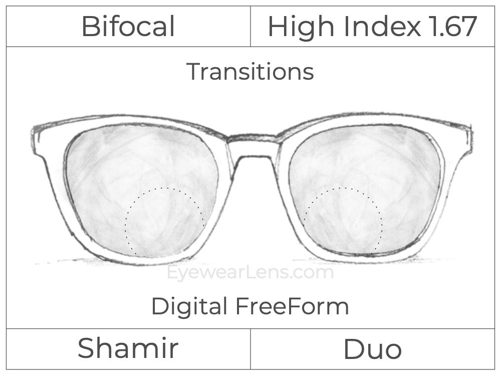 Bifocal - Shamir Duo - High Index 1.67 - Digital FreeForm - Transitions Signature