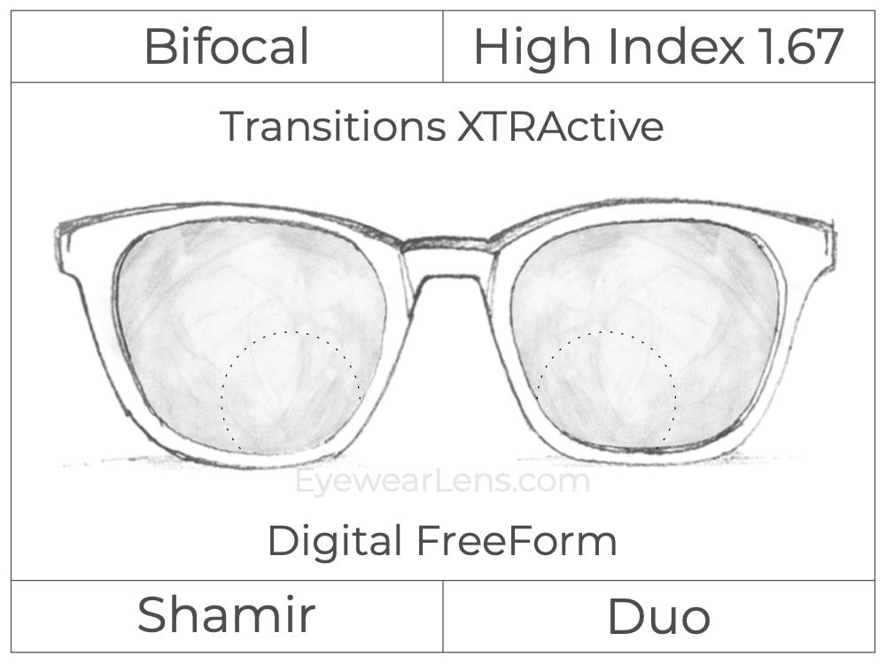 Bifocal - Shamir Duo - High Index 1.67 - Digital FreeForm - Transitions XTRActive