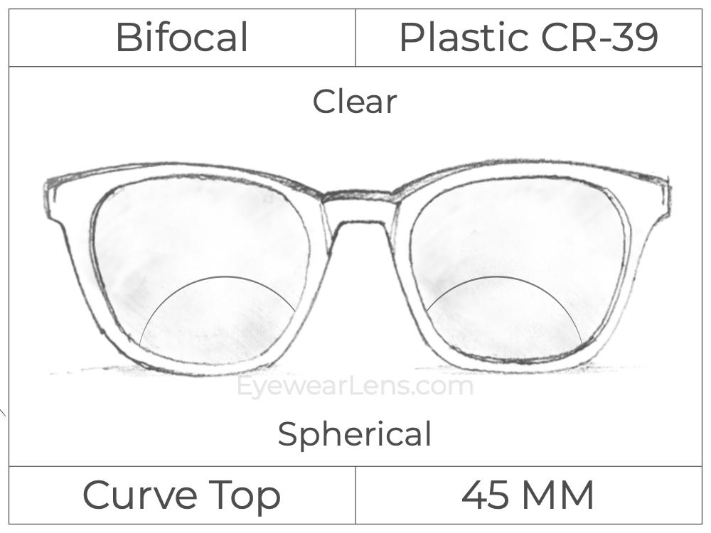 Bifocal - Curve Top - Ultex 45 - Plastic - Spherical - Clear