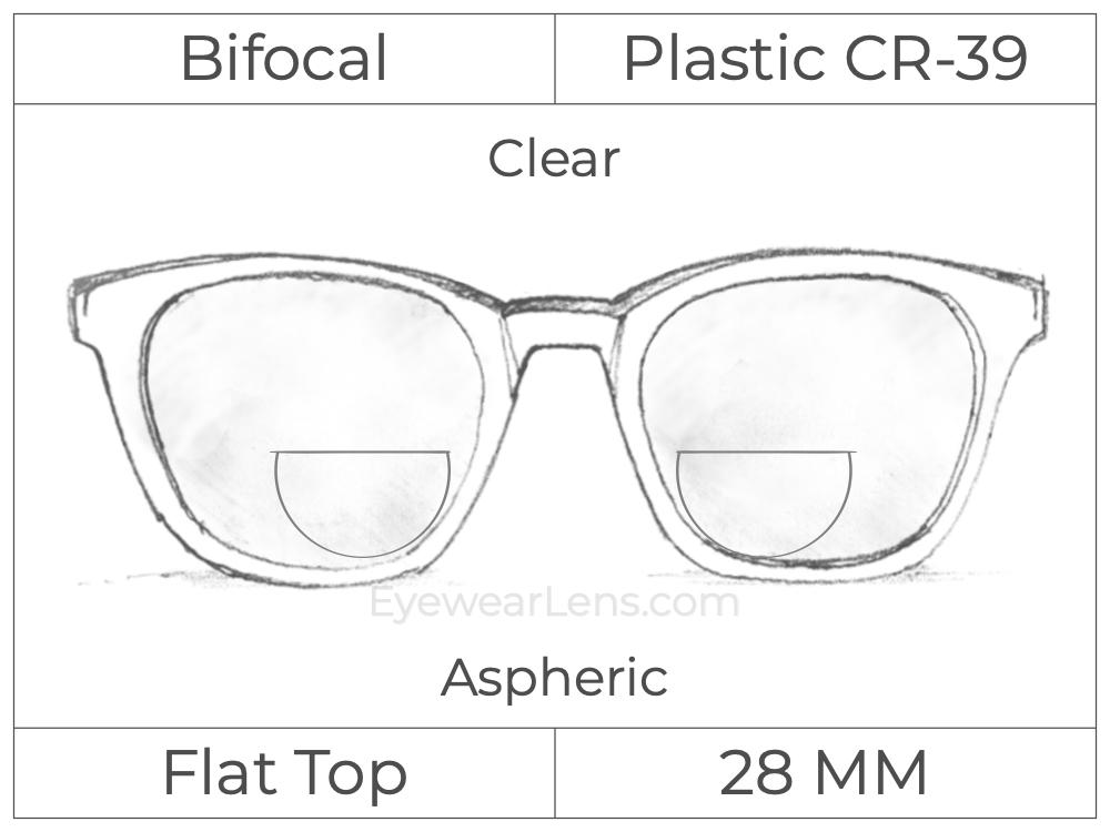 Bifocal - Flat Top 28 - Plastic - Aspheric - Clear