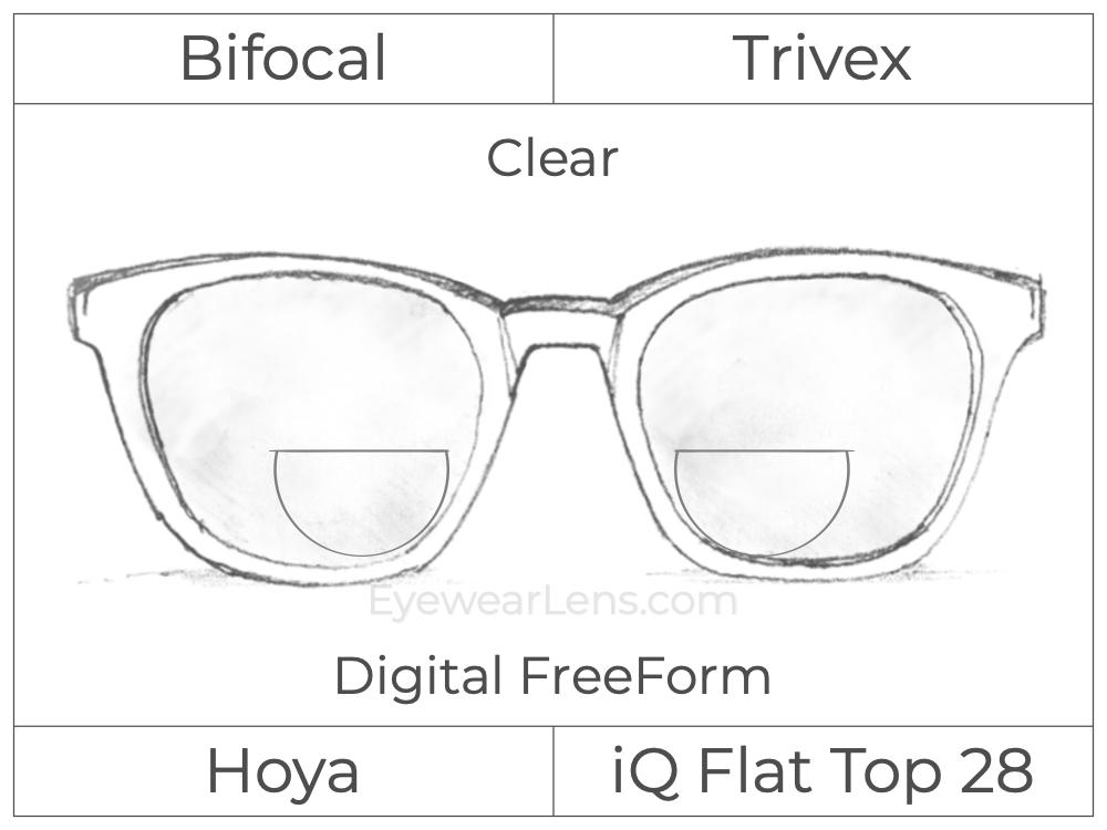 Bifocal - Flat Top 28 - Trivex - Hoya IQ - Digital FreeForm - Clear
