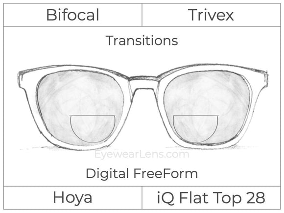 Bifocal - Flat Top 28 - Trivex - Hoya IQ - Digital FreeForm - Transitions Signature
