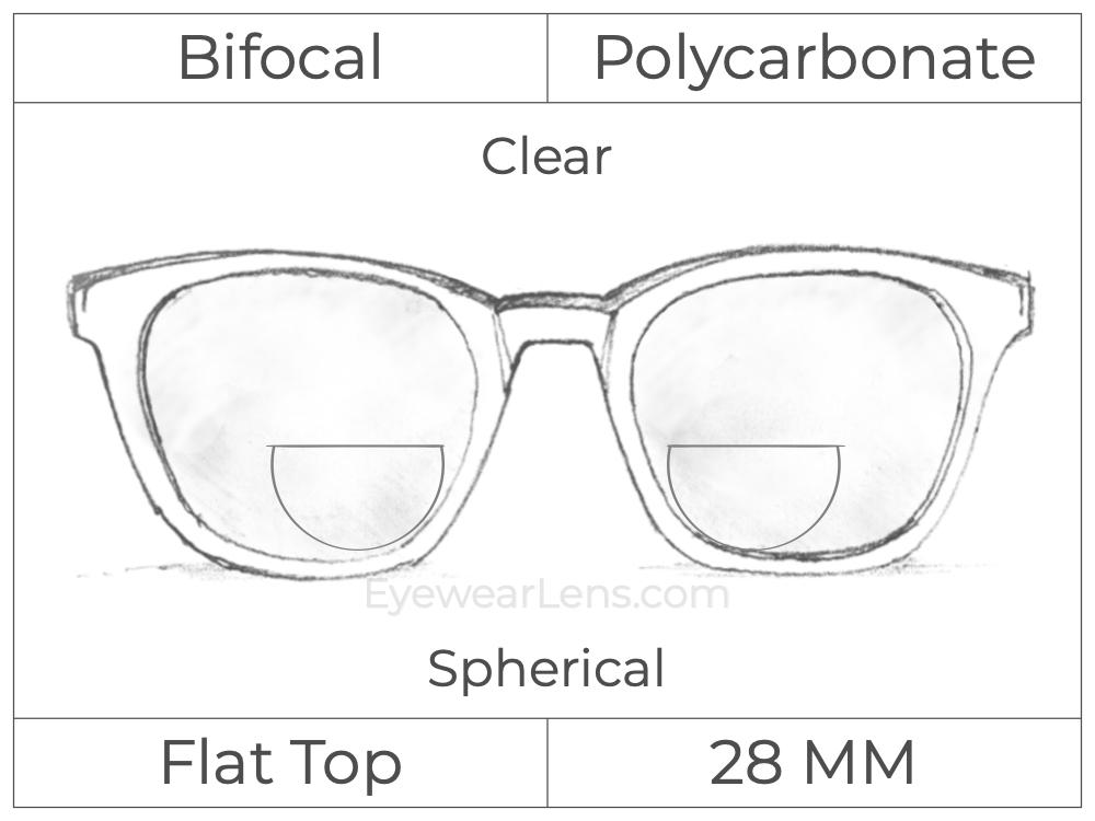 Bifocal - Flat Top 28 - Polycarbonate - Spherical - Clear