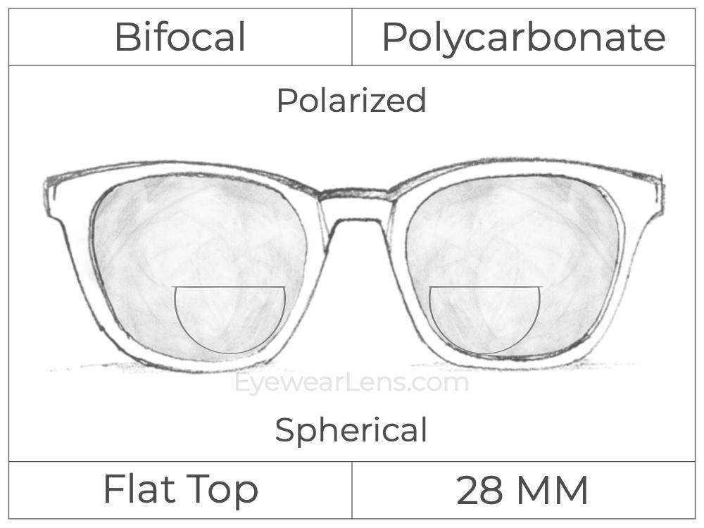 Bifocal - Flat Top 28 - Polycarbonate - Spherical - Polarized