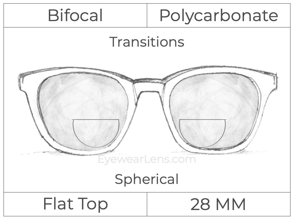 Bifocal - Flat Top 28 - Polycarbonate - Spherical - Transitions Signature